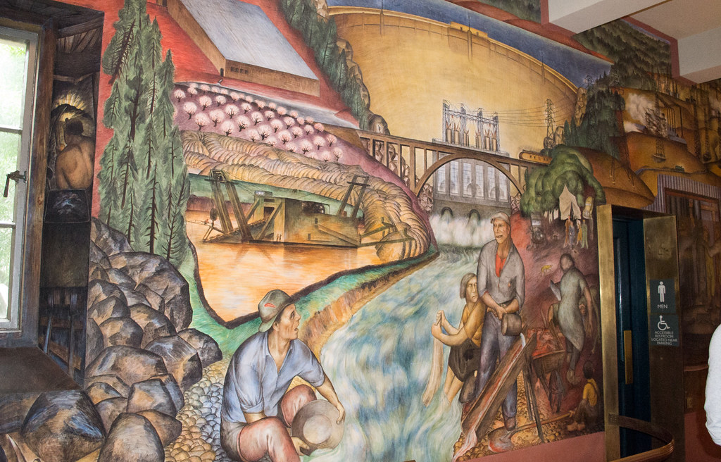 Sf coit tower wpa mural 1276 the right side segment of for Coit tower mural artists