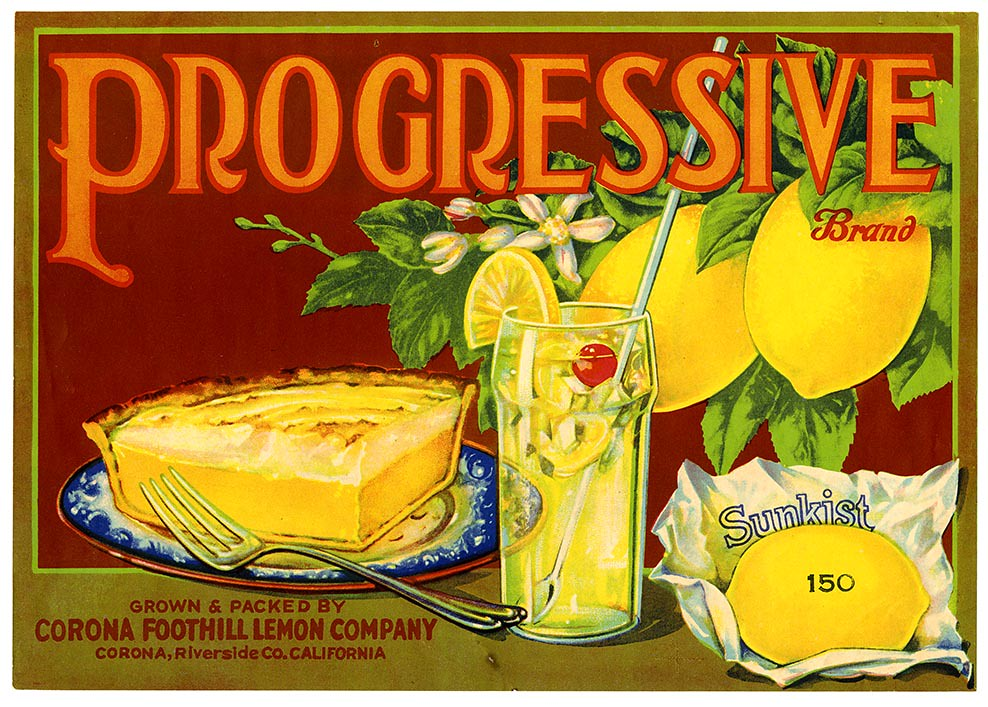 Lemon crate label, Progressive Brand, Lehmann Printing and Lithographing Co . | by California Historical Society Digital Collection