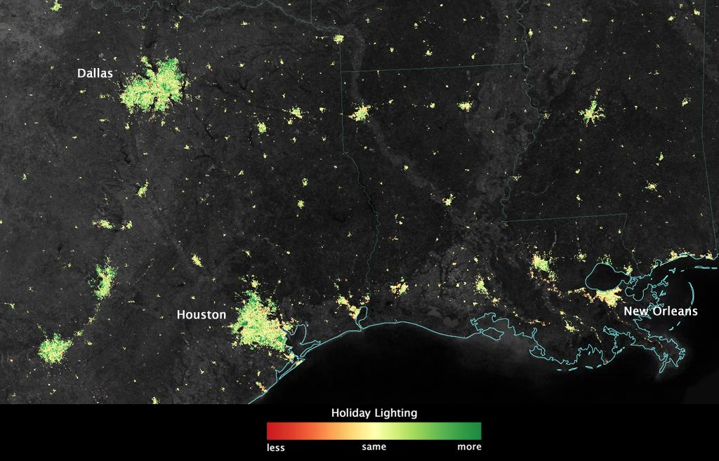 satellite sees holiday lights brighten cities texas and louisiana by nasa goddard photo and