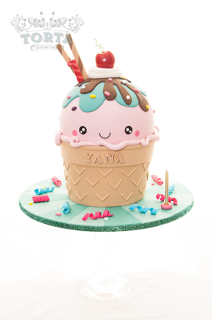 Kawaii Ice Cream Cone Birthday Cake A Kawaii Inspired Gian Flickr