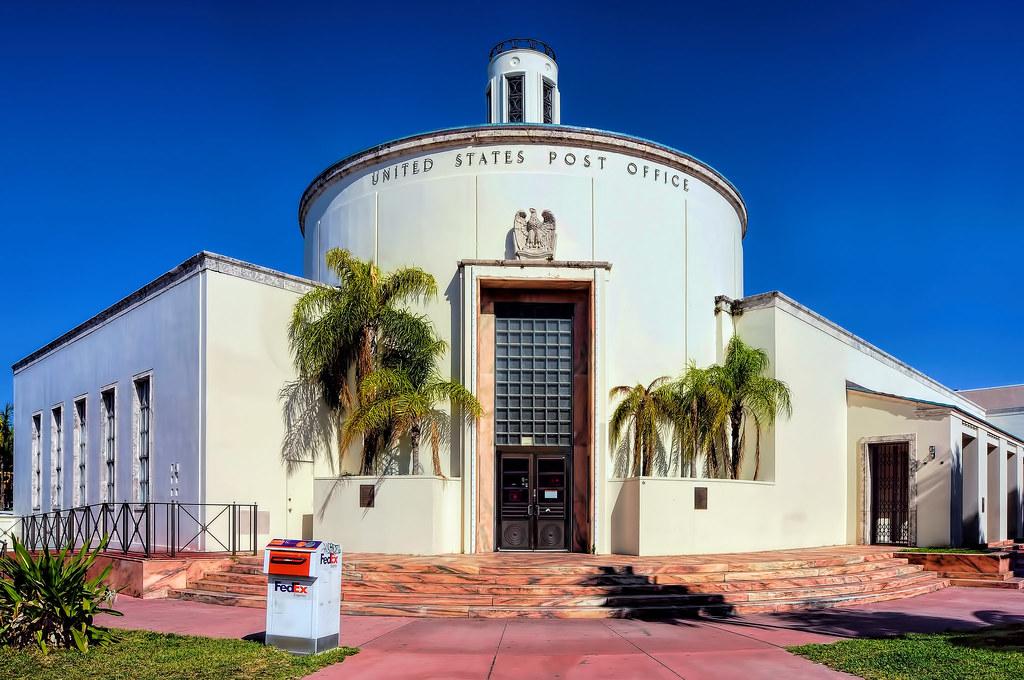 Florida Art Deco Miami Beach US Post Office 1300 Washington Avenue