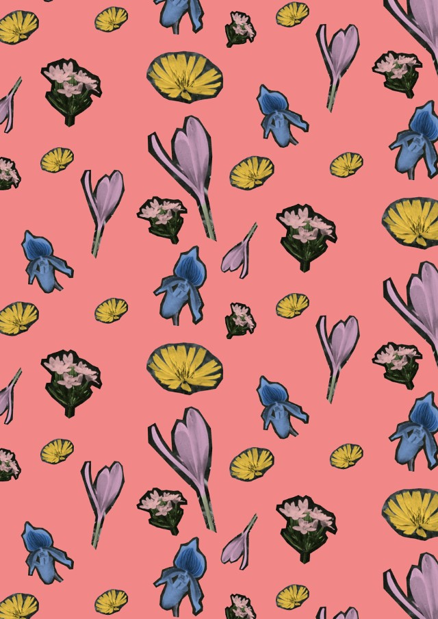 pink floral cutout collage pattern by laura redburn