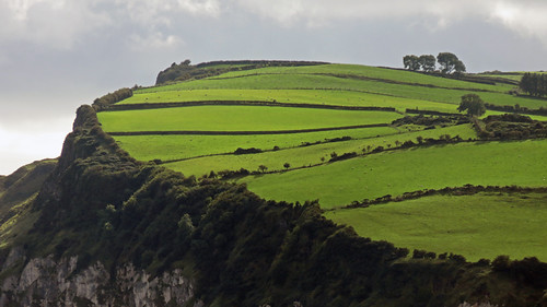 A very green view of the ridge above Carnlough, a small town on the Coastal Causeway Route of Ireland, UK