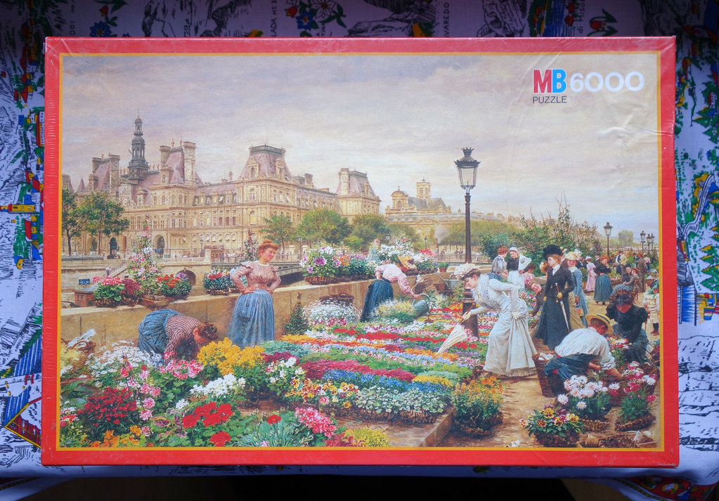 6000 piece puzzle 39 paris the flower market 1895 39 1990. Black Bedroom Furniture Sets. Home Design Ideas