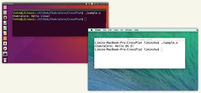 ChakraCore Linuxon, OS X-en