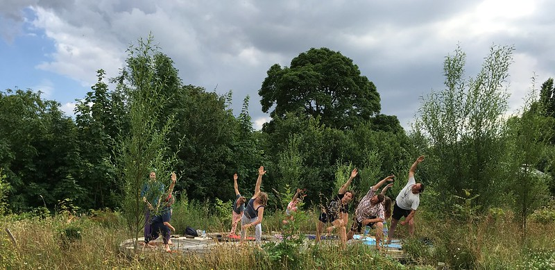 A session of yoga with Helen White at the eastern permaculture gathering