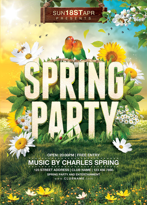 Spring Party Flyer Template  You Can Download The Psd File   Flickr