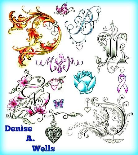 Denise A. Wells Alphabet Lettering Tattoo Designs