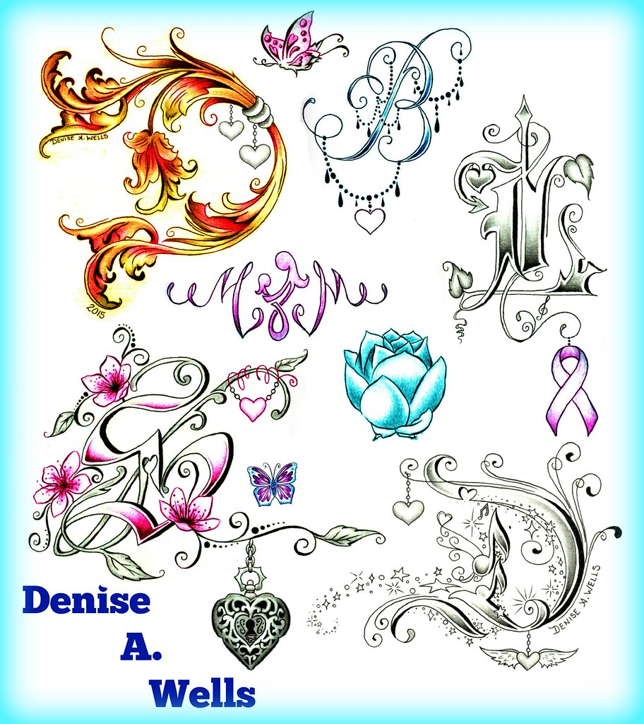 Denise A. Wells Alphabet Lettering Tattoo Designs