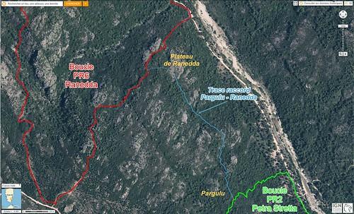 Photo aérienne de la trace de raccordement Pargulu - plateau de Ranedda