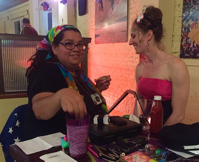 Burlesque dancer gets made up