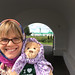 #WSULanguages lecturer Laura Kline and the bear at Alexander Svirsky Monastery in Karelia, Russia.