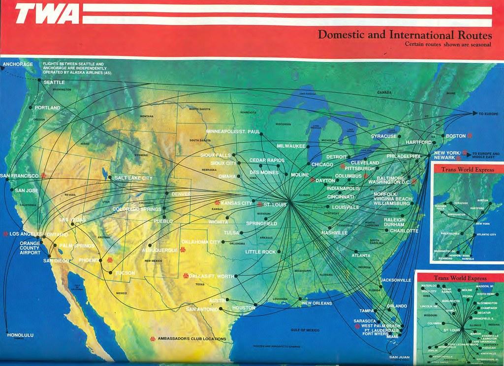 Twa domestic route map december 1991 trans world airlines flickr twa domestic route map december 1991 by airbus777 publicscrutiny Gallery