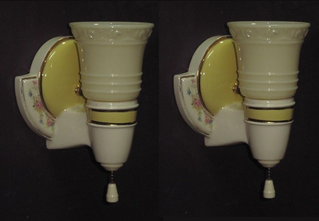 Vintage White Porcelain Wall Sconces: *vintage Yellow Porcelain Wall Sconces