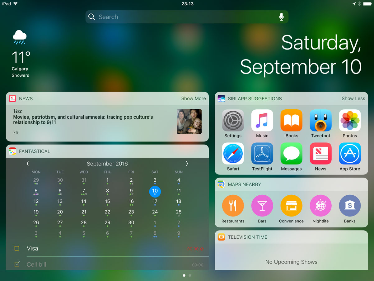 iPad Notification Centre