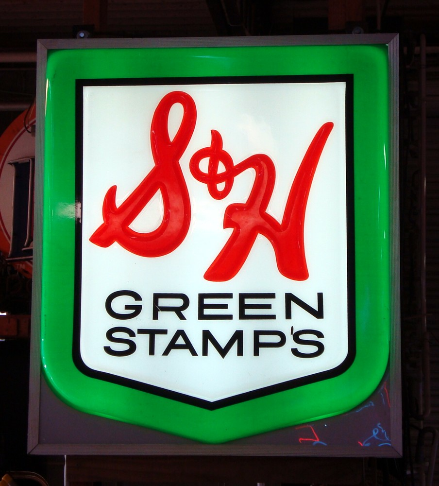 s h green stamps lighted sign s h green stamps lighted. Black Bedroom Furniture Sets. Home Design Ideas