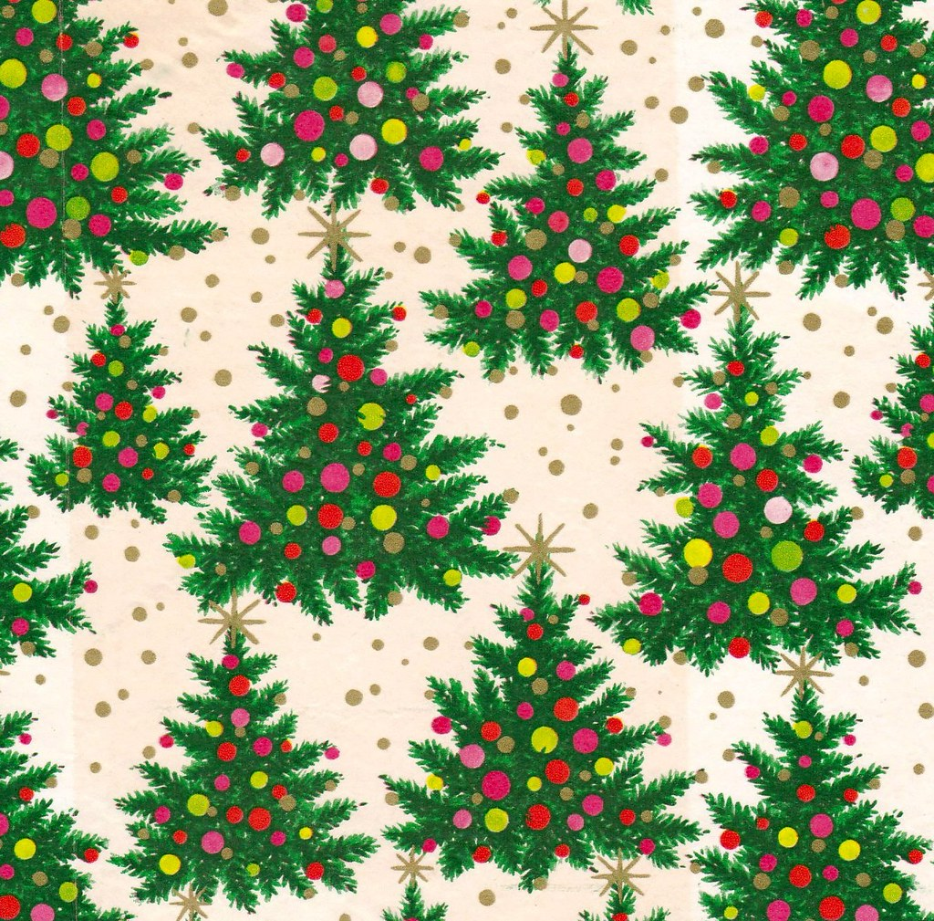 vintage kaycrest christmas wrapping paper atomic trees by hmdavid