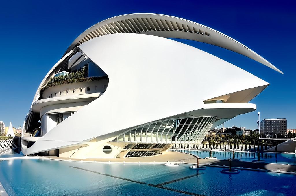 Palau de les Arts Reina Sofia, City of Arts and Sciences, Valencia, Spain, European Community / Architect: Santiago Calatrava.