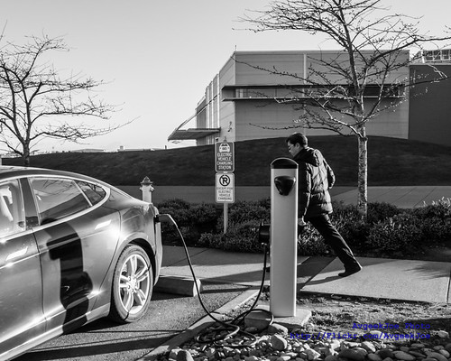 02 - Black & White of a Tesla Model S Electric Vehicle Charging at the Future of Flight | by AvgeekJoe