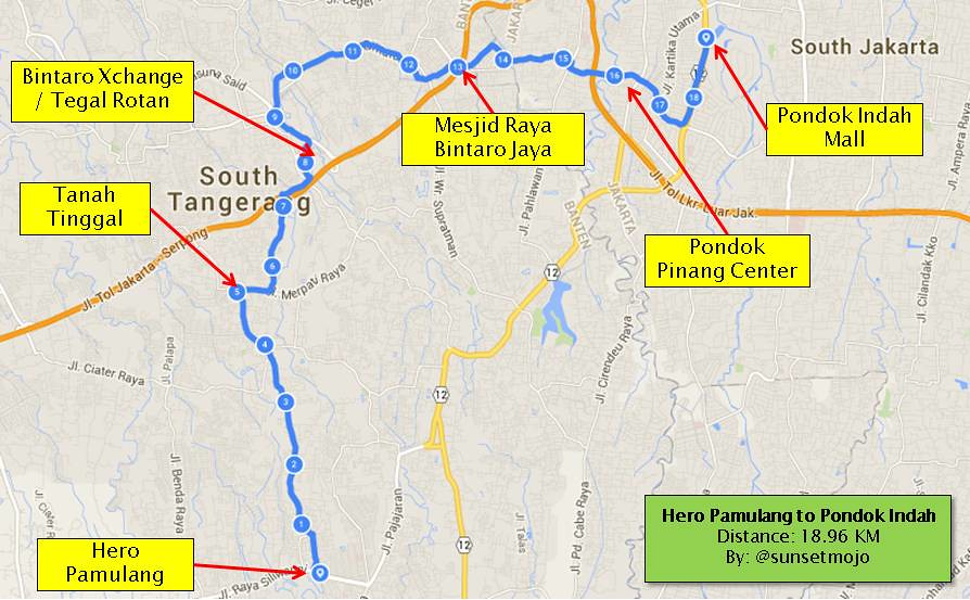 Pondok Indah Mall Map my Cycling Route Hero Pamulang to Pondok Indah Mall