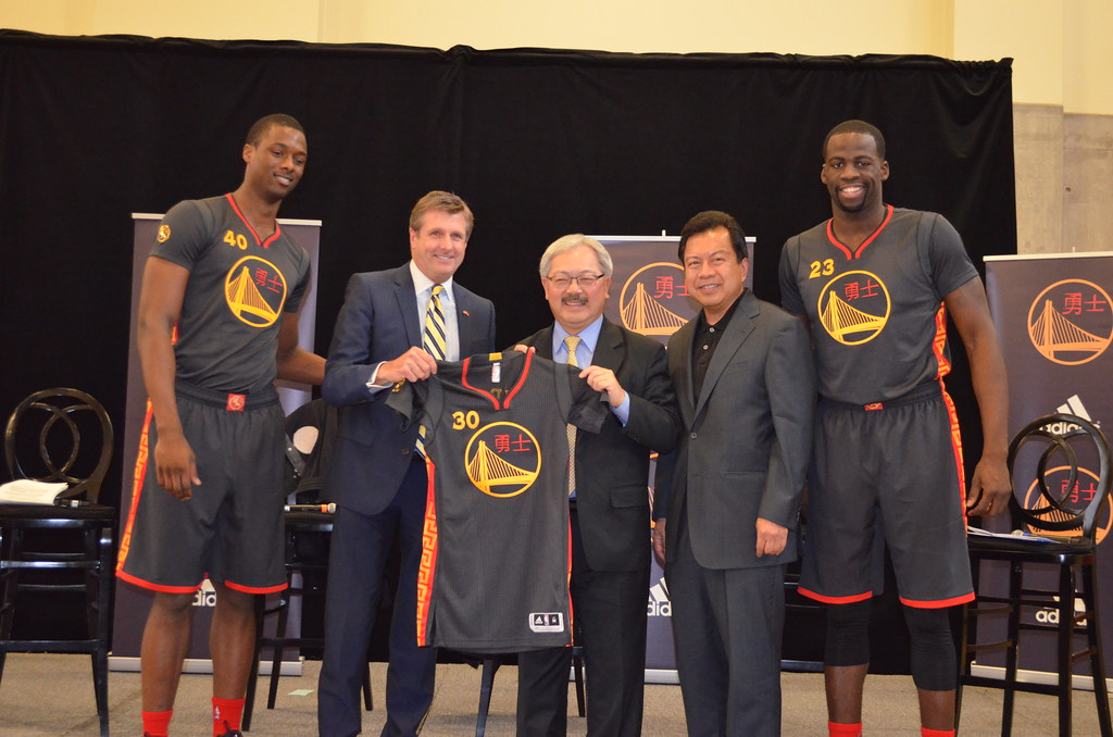 mayor lee attends the unveiling of the warriors first ever flickr - Warriors Chinese New Year Jersey