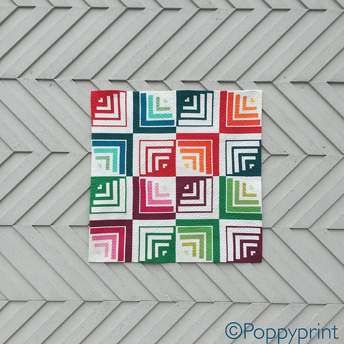 "Round Peg, Square Hole by Poppyprint, August 2016. 38"" square. RJR Supreme Cotton Solids."