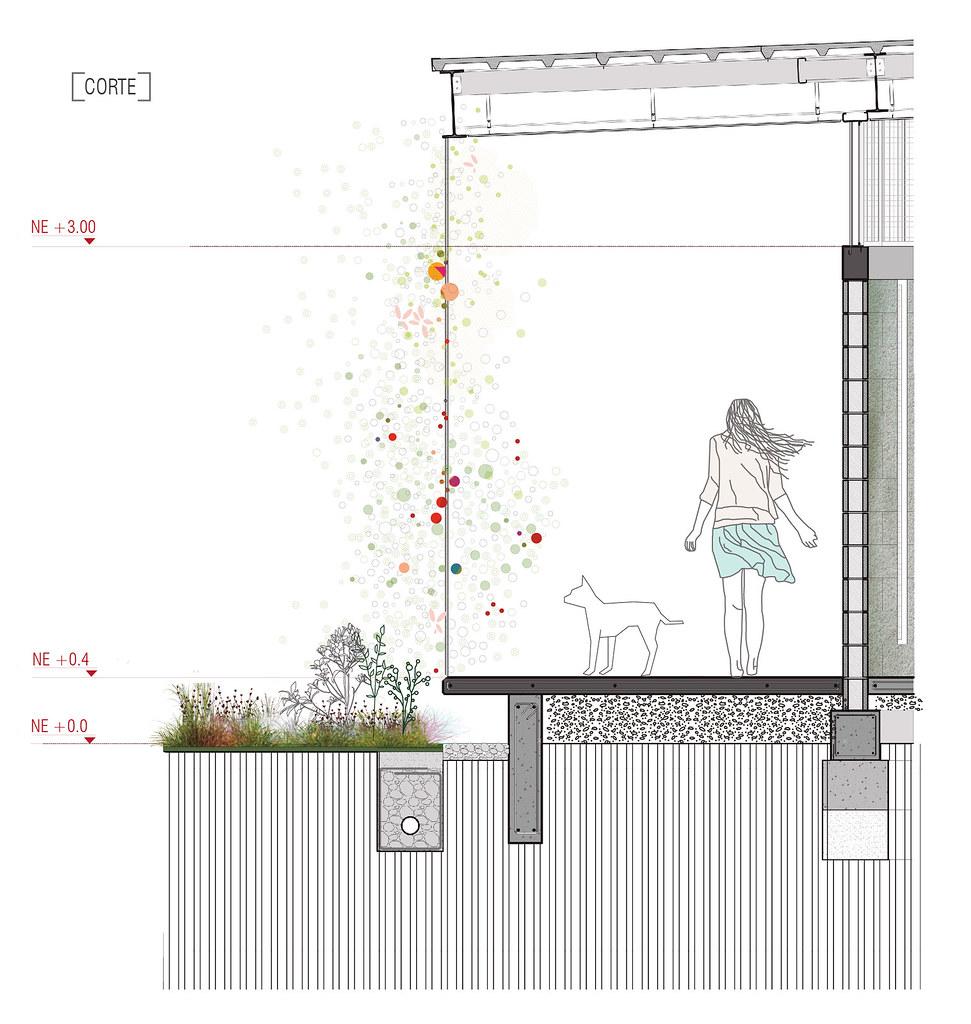 Corte por fachada parque educativo r o de guaduas for Arquitectura nota de corte