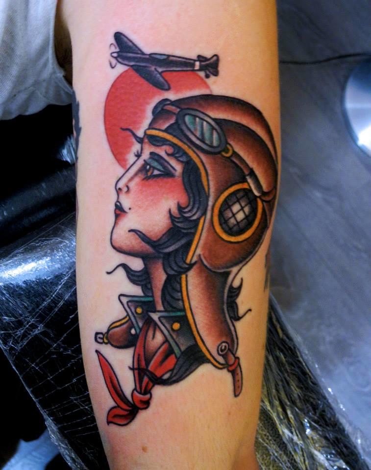 aviator girl tattoo joe tartarotti flickr