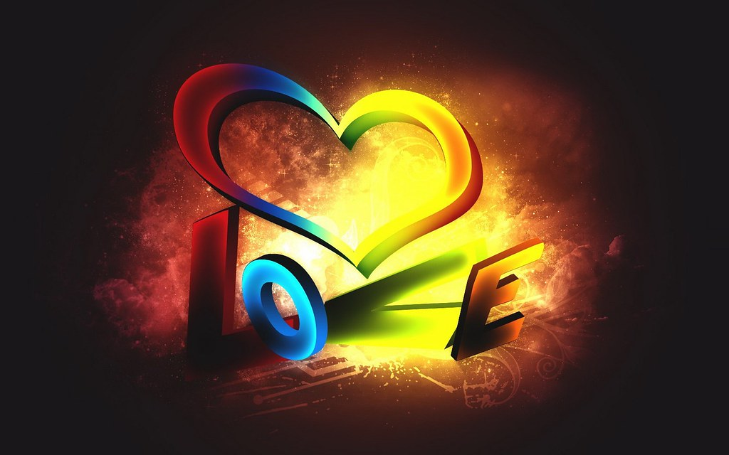 3D Love Color Desktop Background HD Wallpaper