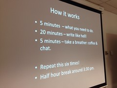 Slide that says: How it works 5 minutes - what you need to do. 20 minutes - write like hell! 5 minutes - take a breather: coffee & chat. Repeat this six times! Half hour break around 3:30 pm.