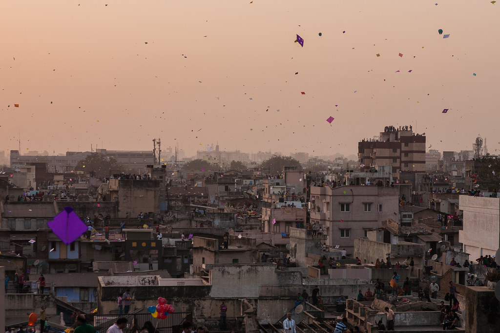 Sky Filled With Kites In Ahmedabad Gujarat India Flickr