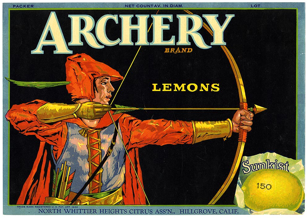 Lemon crate label, Archery Brand, Lehmann Printing and Lithographing Co. | by California Historical Society Digital Collection