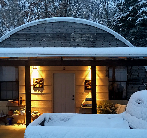Cabin in the snow one of our customers sent us a picture for Metal building cabin