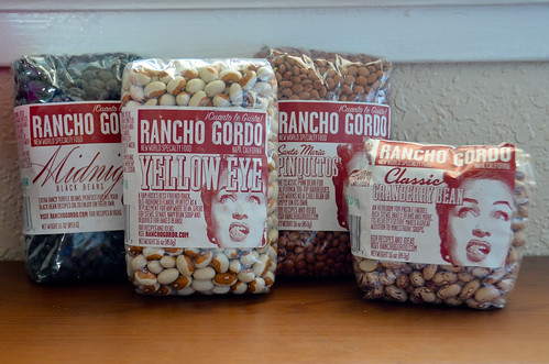 Rancho Gordo Dried Heirloom Beans: Midnight, Yellow Eyed Pea, Pinquito, and Cranberry