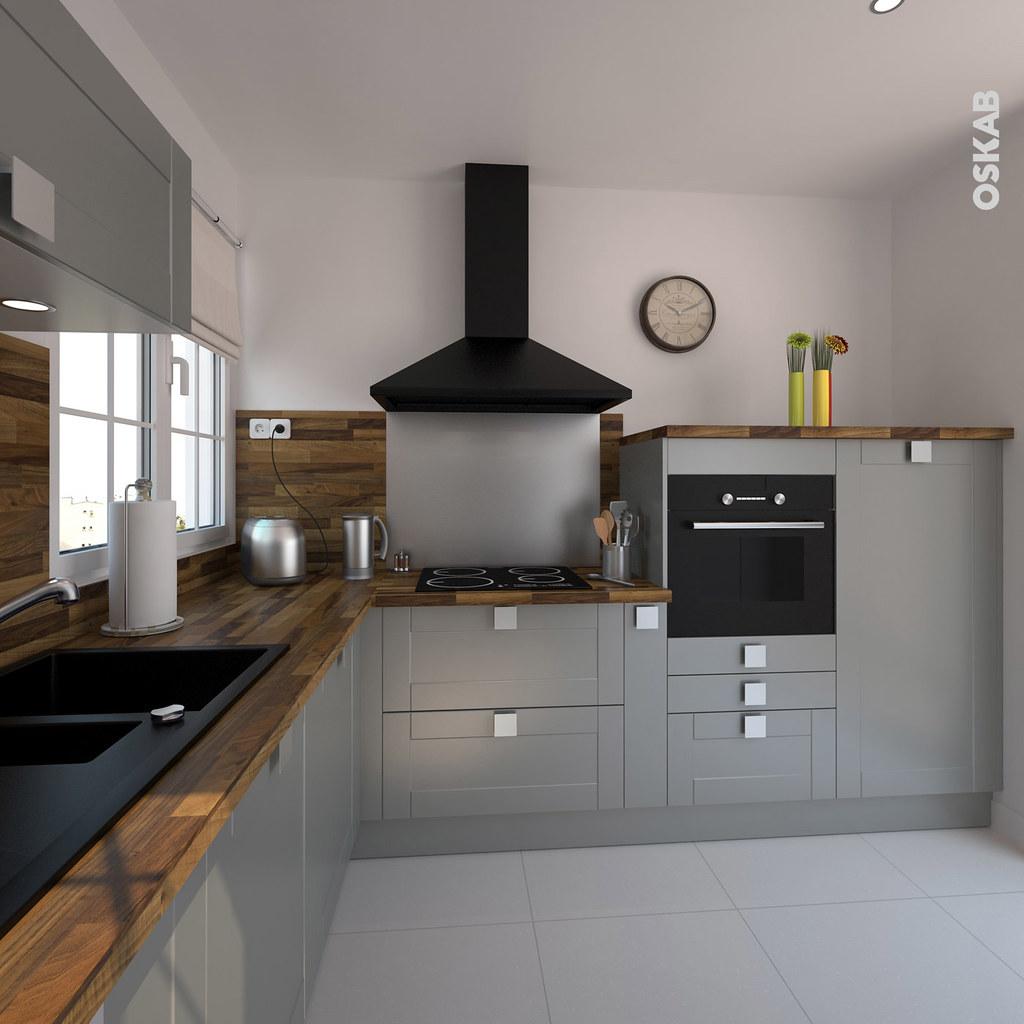 Cuisine ouverte grise petite et classique en l oskab for Modele cuisine noire