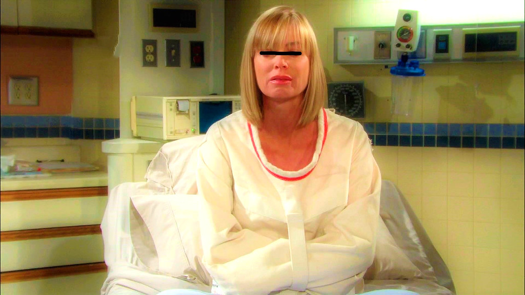 Woman With Posey Straitjacket In Psychiatry Restraint,Frau