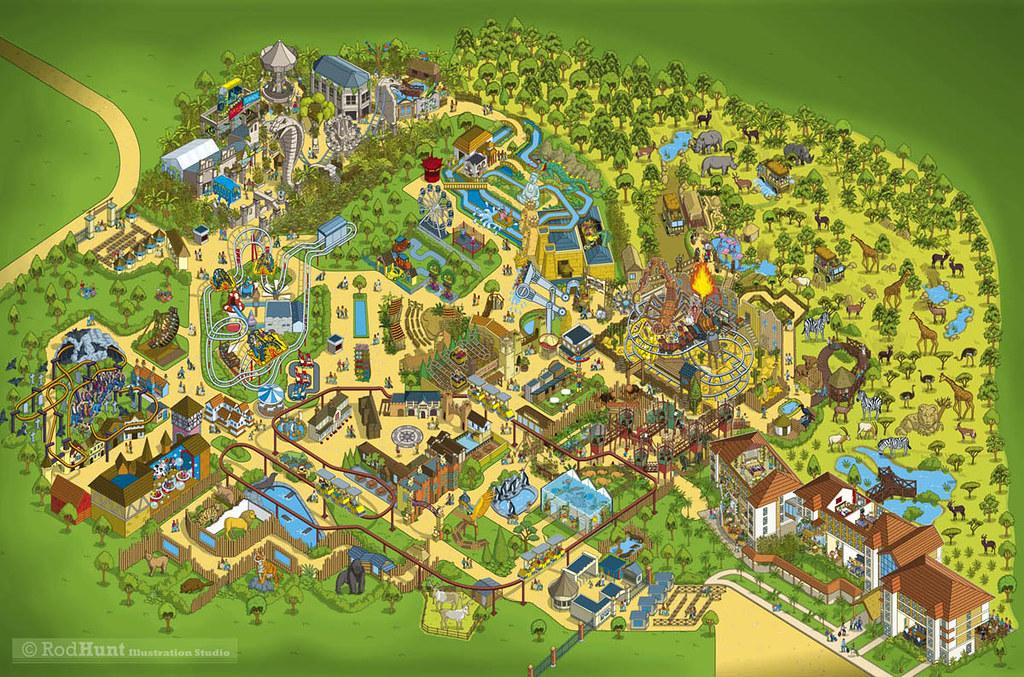 Chessington World Of Adventures 2014 Theme Park Map Illust