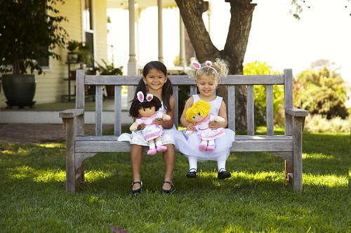 Two Little Girls With Easter Bunny Ears Rag Dolls Sitting