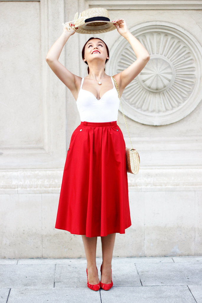 red midi skirt10