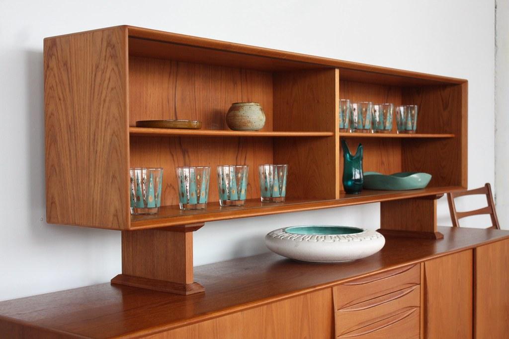 Dyrlund Danish Credenza : Dyrlund danish modern teak credenza hutch top glass doors nice