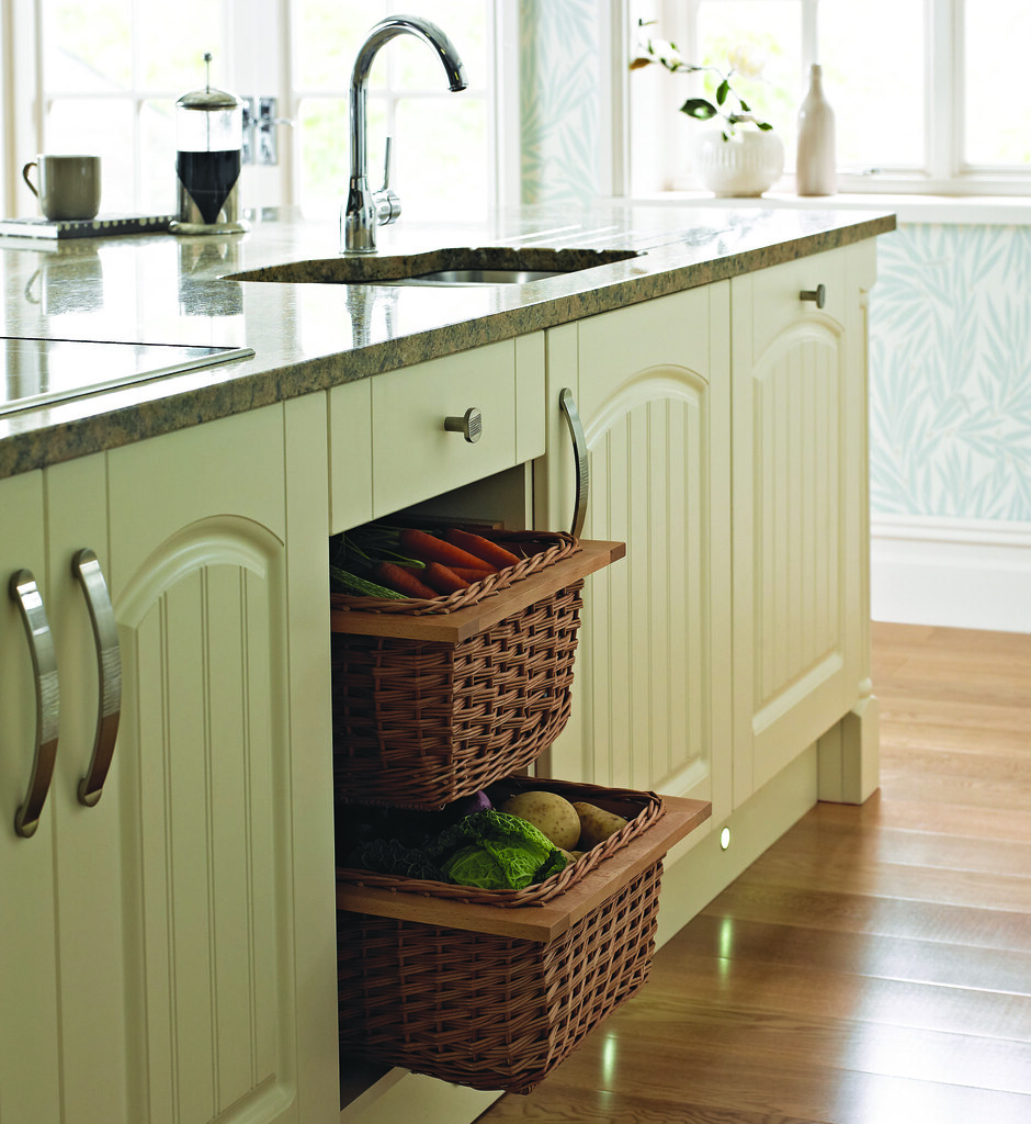 Kitchen Island Storage From The Miami Cream Range Perfectly Complimented By Wicker Baskets By