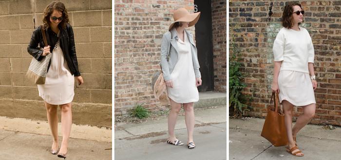 januaryness, white dress remix, rachel rachel roy, cream dress three ways, outfit ideas for white dress