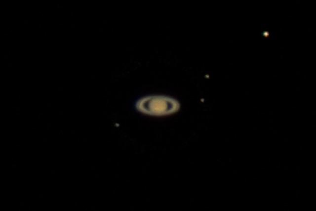 土星と衛星 (2016/8/7 19:30)
