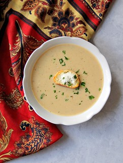 Roasted Cauliflower and Herbed Cheese Soup | by femmefraiche