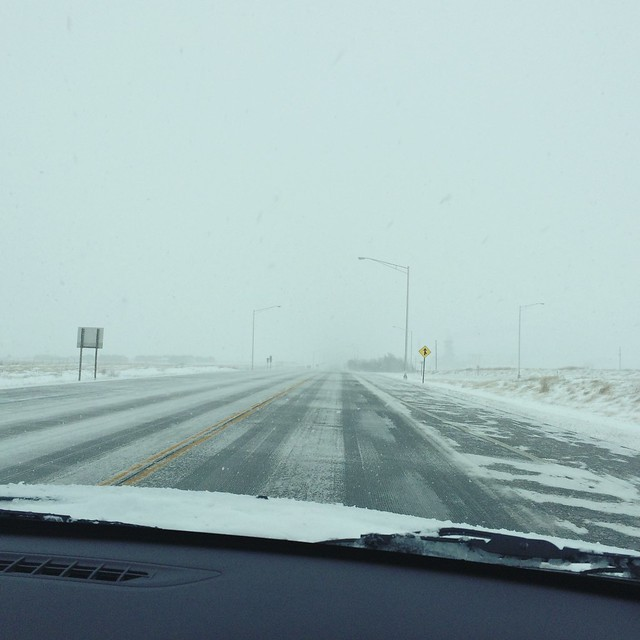 Driving in a Kansas snowstorm. #windoutofthenorth #itwasworselastnight #homeagainhomeagain
