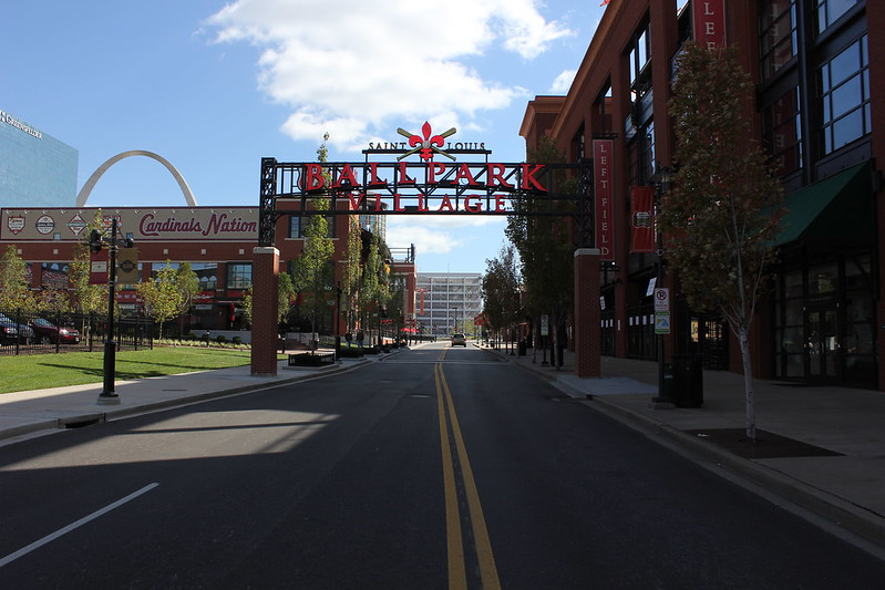 ballpark village, st louis, shopping district