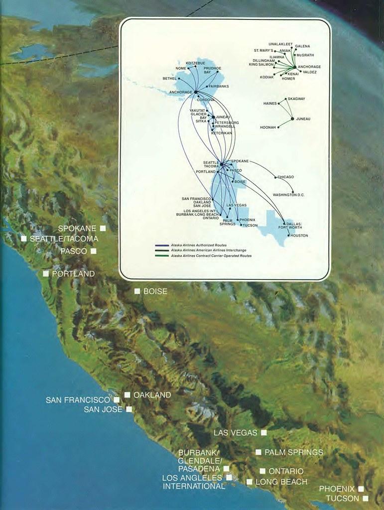 Alaska Airlines route map, April 1986 | Alaska Airlines rout… | Flickr
