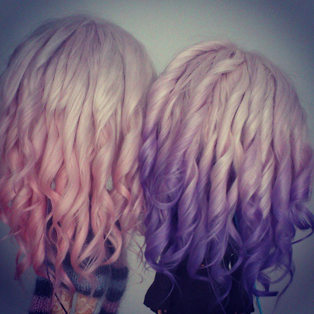 Twins Ombre Hair Silver To Pink Silver To Violet Flickr
