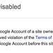 Google Site Disabled