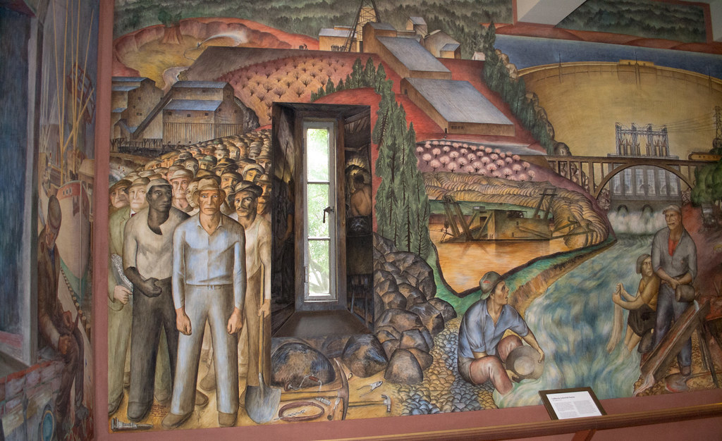 Sf coit tower wpa mural 1275 as the plaque describes for Coit tower mural